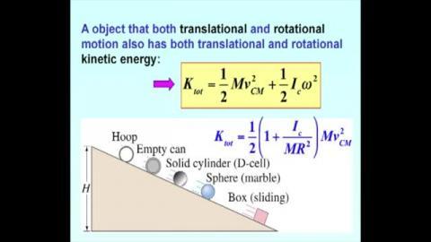 Rotational and translational kinetic energy