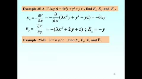 Examples on E = -grad V