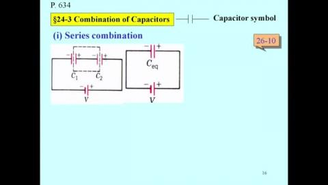 Combination of capacitors:series and parallel