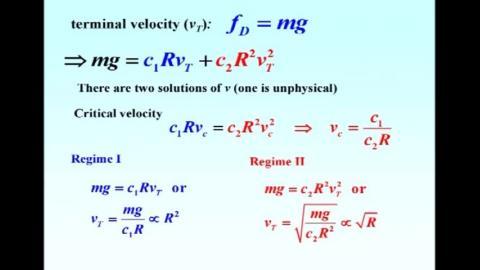 Terminal velocity vs radius R