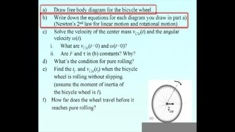 Solving the problem of bicycle wheel by Newton's 2nd law