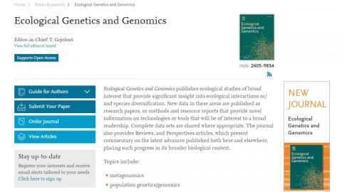 "國際學術期刊""Ecological Genetics and Genomics""在成大誕生"