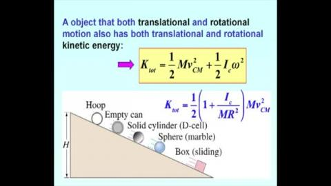 Rotational and translational kinetic energy