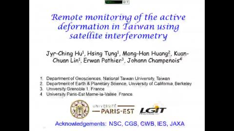 Remote monitoring of the active deformation in Taiwan using satellite interferometry